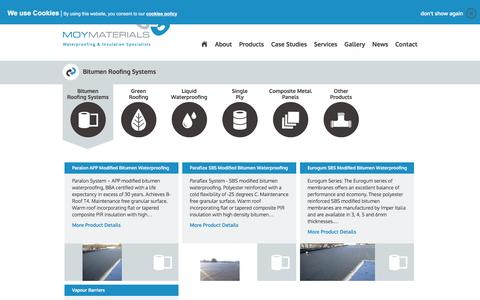 Screenshot of Products Page moymaterials.com - Bitumen - Roofing Systems - captured Dec. 15, 2016