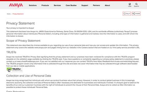 Screenshot of Privacy Page avaya.com - Privacy Statement - captured May 29, 2016