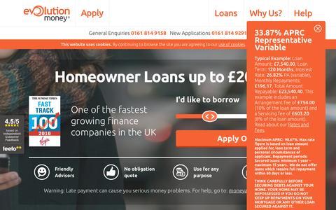 Screenshot of Home Page evolutionmoney.co.uk - Award-Winning Online Secured Loans  - captured May 22, 2017