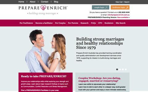 Screenshot of Home Page prepare-enrich.com.au - PREPARE/ENRICH is the leading relationship inventory and skill-building program used nationally and internationally - captured Sept. 25, 2018