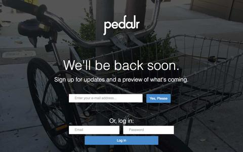 Screenshot of Signup Page pedalr.com - pedalr • A better marketplace for people who love bikes • back soon - captured July 19, 2015