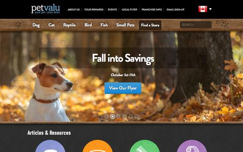 Screenshot of Home Page petvalu.com - Pet Valu Pet Store | Pet food, Treats and Supplies - captured Oct. 5, 2015