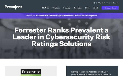 Screenshot of Case Studies Page prevalent.net - Forrester Ranks Prevalent a Leader in Cybersecurity Risk Ratings Solutions | Prevalent - captured Dec. 12, 2019