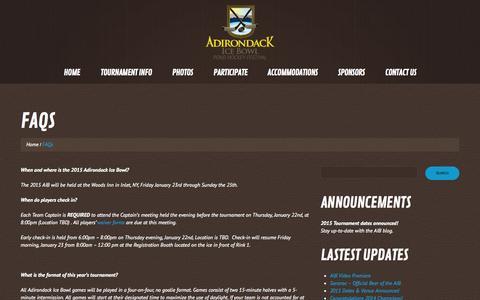 Screenshot of FAQ Page adirondackicebowl.com - FAQs | Adirondack Ice Bowl - captured Oct. 4, 2014