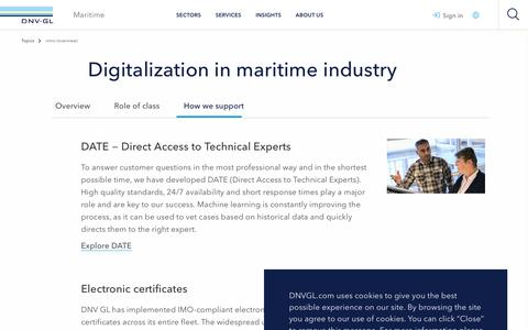 Screenshot of Support Page dnvgl.com - Digitalization in the maritime industry - our support - DNV GL - captured Dec. 7, 2019