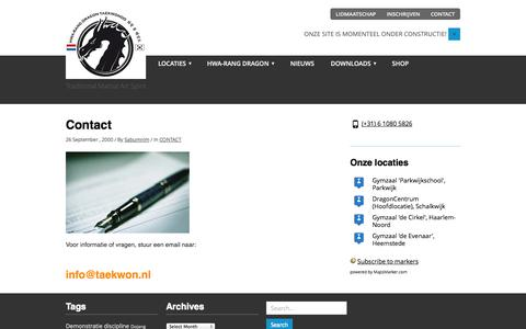 Screenshot of Contact Page taekwon.nl - CONTACT | HWA-RANG DRAGON TAEKWONDO - captured Nov. 2, 2014