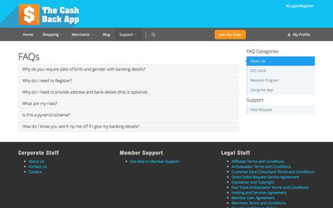 Screenshot of Support Page thecashbackapp.com - FAQs - The Cash Back App: Everybody Wins! Get Cash Back and Loyalty Rewards on your Shopping, Plus build a passive income!   Get the FREE Cash Back App - captured Dec. 13, 2016