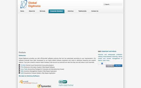 Screenshot of Products Page globaldg.net - Global Digitronix - Products - captured Oct. 2, 2014