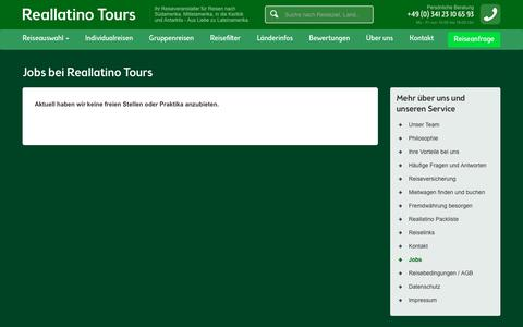 Screenshot of Jobs Page reallatino-tours.com - Reallatino Tours - Jobs - Aktuelle Stellenangebote - captured Sept. 20, 2018