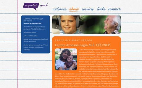 Screenshot of About Page saywhatspeech.com - Say What Speech - Lauren Aronson Lagin M.S. CCC/SLP - captured Sept. 30, 2014