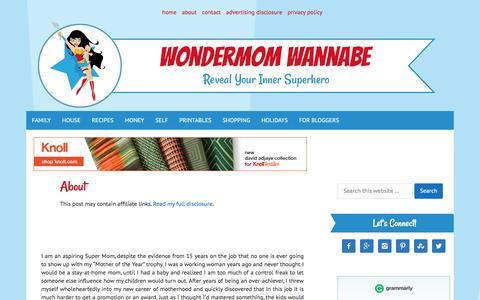 Screenshot of About Page wondermomwannabe.com - About - captured Jan. 11, 2016