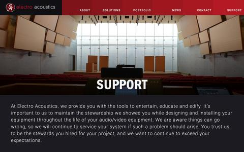 Screenshot of Support Page eavi.com - Sound System Service | Audio and Video System Service | EA - captured Oct. 2, 2014