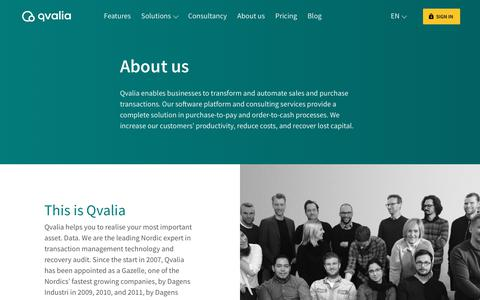 Screenshot of About Page Contact Page qvalia.com - About us | Qvalia - captured July 25, 2018