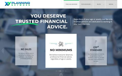 Screenshot of Home Page xyplanningnetwork.com - Find an Advisor | Fee Only Financial Planner XY Planning Network XYPN - captured April 2, 2019
