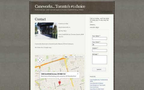 Screenshot of Contact Page squarespace.com - Contact - Toronto,  Cane Wicker & Rush Repairs - captured Sept. 11, 2014
