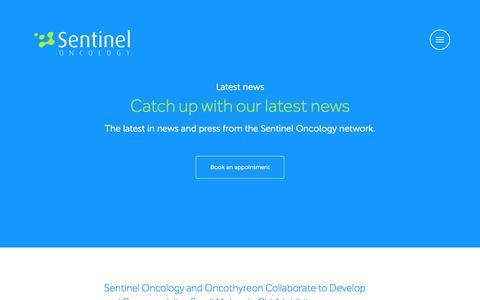 Screenshot of Press Page sentineloncology.com - News – Sentinel Oncology - captured Aug. 13, 2015