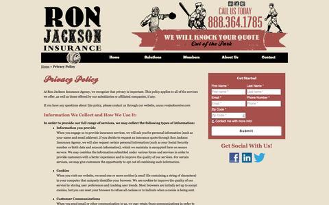 Screenshot of Privacy Page ronjacksonins.com - Privacy Policy | Ron Jackson Insurance Agency of Kalamazoo Michigan - captured Oct. 6, 2014
