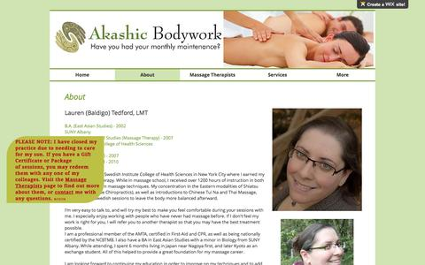 Screenshot of About Page akashicbodywork.com - Akashic Bodywork| Massage and Bodywork for EVERY body| Nashua, NH | About - captured May 29, 2017
