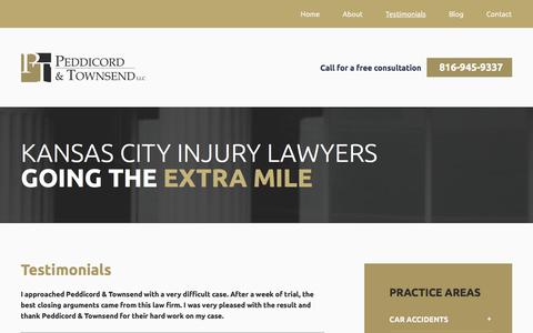 Screenshot of Testimonials Page ptlawkc.com - Testimonials | Peddicord & Townsend LLC | Kansas City, MO - captured July 19, 2017