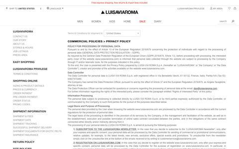 Screenshot of Privacy Page luisaviaroma.com - Contact us - Luisaviaroma - captured Sept. 19, 2018