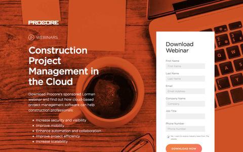 Screenshot of Landing Page procore.com - Construction Project Management in the Cloud - captured Dec. 28, 2016