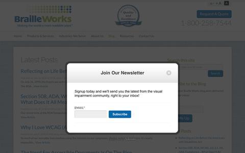 Screenshot of Blog brailleworks.com - Braille Works Blog and Latest News - Braille Works - captured Aug. 3, 2018