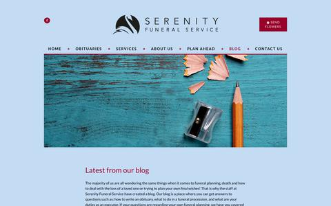Screenshot of Blog serenity.ca - Funeral Planning Resources & Advice | Serenity Funeral Service - captured Oct. 18, 2018
