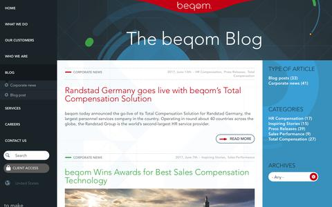 Screenshot of Blog beqom.com - beqom Blog | Best Practices and Thought Leadership on Compensation and Performance Management - captured July 23, 2017