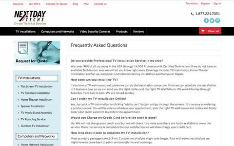 Screenshot of FAQ Page nextdaytechs.com - TV Installation FAQ for Nextdaytechs - captured June 15, 2016