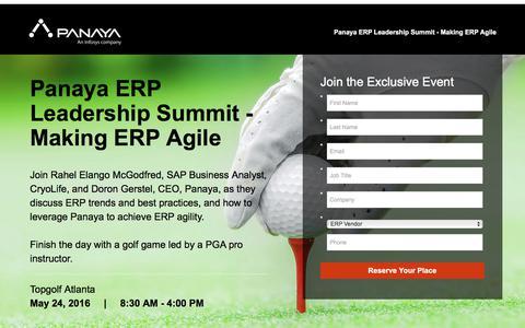 Screenshot of Landing Page panaya.com - Panaya ERP Leadership Summit: Making ERP Agile – Topgolf Atlanta - captured Sept. 12, 2018
