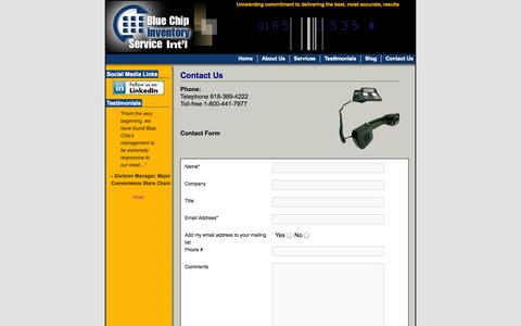 Screenshot of Contact Page count-it.com - Blue Chip Inventory Service - Contact Us - captured Oct. 5, 2014