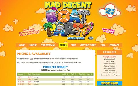 Screenshot of Pricing Page maddecentboatparty.com - Mad Decent Boat Party - Prices - captured Nov. 4, 2014