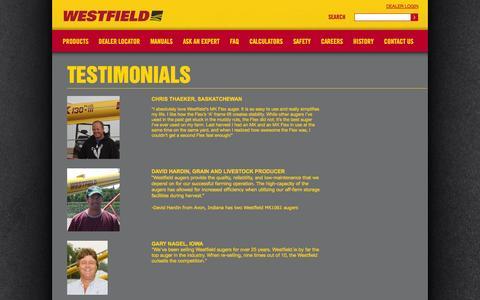 Screenshot of Testimonials Page grainaugers.com - - Testimonials - captured Oct. 26, 2014