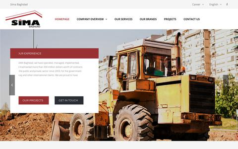 Screenshot of Home Page simabaghdad.com - Sima Baghdad – SIMA Baghdad is a multidisciplinary , full service, leading contracting company based in Basra, Iraq - captured Oct. 18, 2018