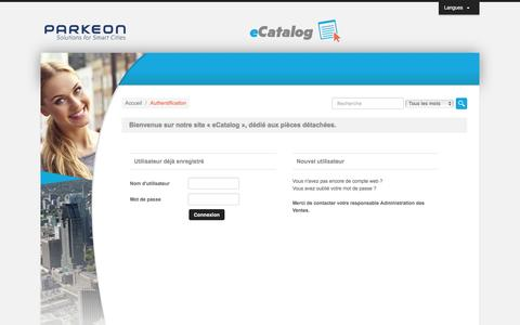 Parkeon eCatalog - Authentification