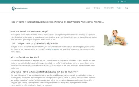 Screenshot of FAQ Page corevirtualsupport.com - FAQ's | Core Virtual Support - captured Oct. 28, 2014