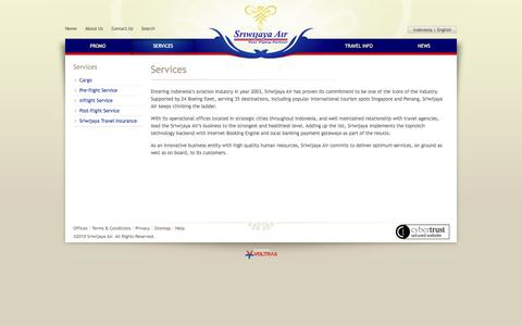 Screenshot of Services Page sriwijayaair.co.id - Services | Sriwijaya Air - captured Sept. 18, 2014