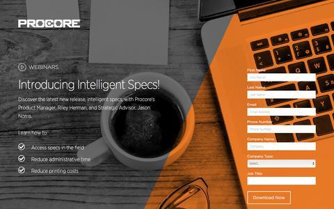 Screenshot of Landing Page procore.com - Introducing Intelligent Specs! - captured March 15, 2016