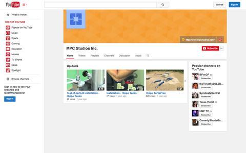 Screenshot of YouTube Page youtube.com - MPC Studios Inc.  - YouTube - captured Oct. 23, 2014