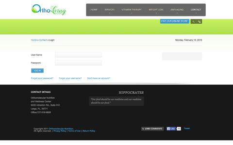 Screenshot of Login Page orthomolecularnutrition.net - Login - captured Feb. 17, 2016