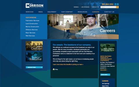 Screenshot of Jobs Page chetmorrison.com - Careers - Chet Morrison Contractors - captured Oct. 2, 2014