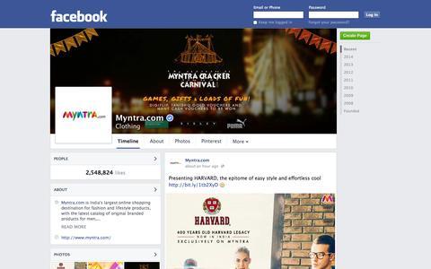 Screenshot of Facebook Page facebook.com - Myntra.com | Facebook - captured Oct. 22, 2014