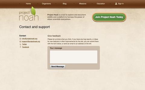 Screenshot of Contact Page projectnoah.org - Contact Us | Project Noah - captured Sept. 16, 2014