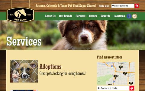 Screenshot of Services Page thepetclub.net - Services - Pet Club - captured Feb. 21, 2016