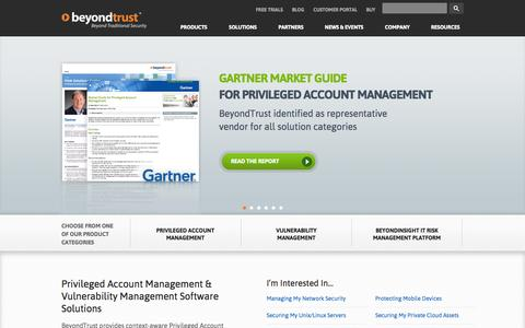 Screenshot of Home Page beyondtrust.com - Privileged Account Management | Identity Management | Vulnerability Management - captured Sept. 15, 2014