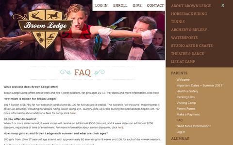 Screenshot of FAQ Page brownledge.org - FAQ - Brown Ledge Camp - captured Nov. 30, 2016