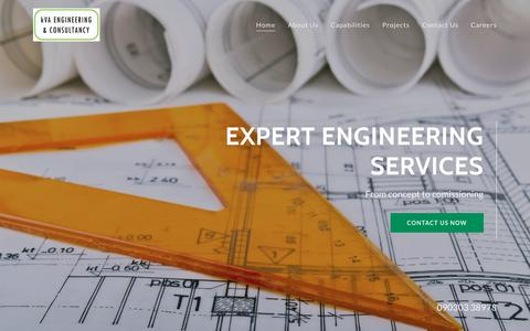 Screenshot of Home Page kvaengg.com - kVA Engineering - captured Oct. 16, 2018