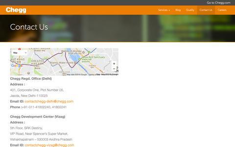 Screenshot of Contact Page cheggindia.com - Contact Us - Chegg India - captured Nov. 3, 2018
