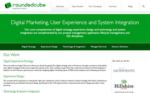 Screenshot of Services Page roundedcube.com - Our Work - Roundedcube - captured Dec. 20, 2016