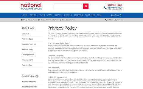 Screenshot of Privacy Page nationaltoolhireshops.co.uk - Privacy Policy | National Tool Hire Shops - captured Aug. 12, 2016